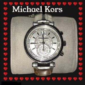 Michael Kors Sawyer Silver Crystal Dial Watch NWT